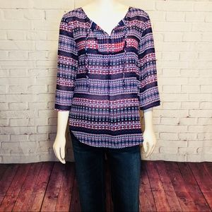 Violet + Claire Boho Abstract Blouse Top M Hippie